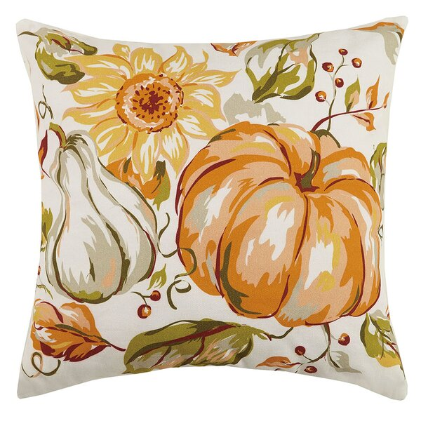 Fall Cornucopia and Pumpkin Sunflower 100% Cotton Throw Pillow by The Holiday Aisle